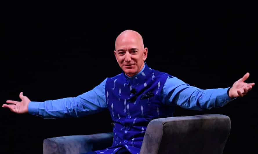 Bezos speaks at an Amazon event in India