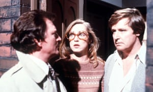Ken Barlow, Mike Baldwin and Deirdre Barlow in Coronation Street, 1983.