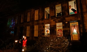 Strathbungo Window Wonderland February 2019. On the south side of Glasgow every year the residents of Strathbungo decorate their windows with weird and wonderful displays for the locals to enjoy. This year there was live music, flame throwing, juggling and balloon animals. Brass, Aye? the brass band played the streets.