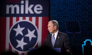 Democratic presidential candidate Michael Bloomberg reacts to a heckler during a campaign rally in Nashville, Tennessee.