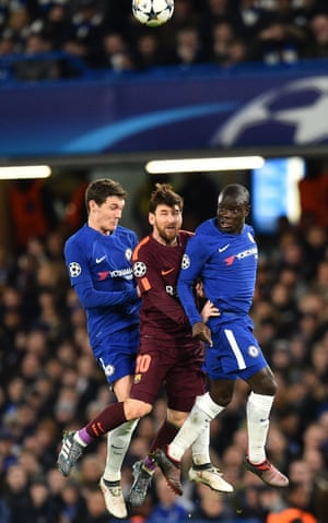 Andreas Christensen and N'Golo Kanté close down Lionel Messi