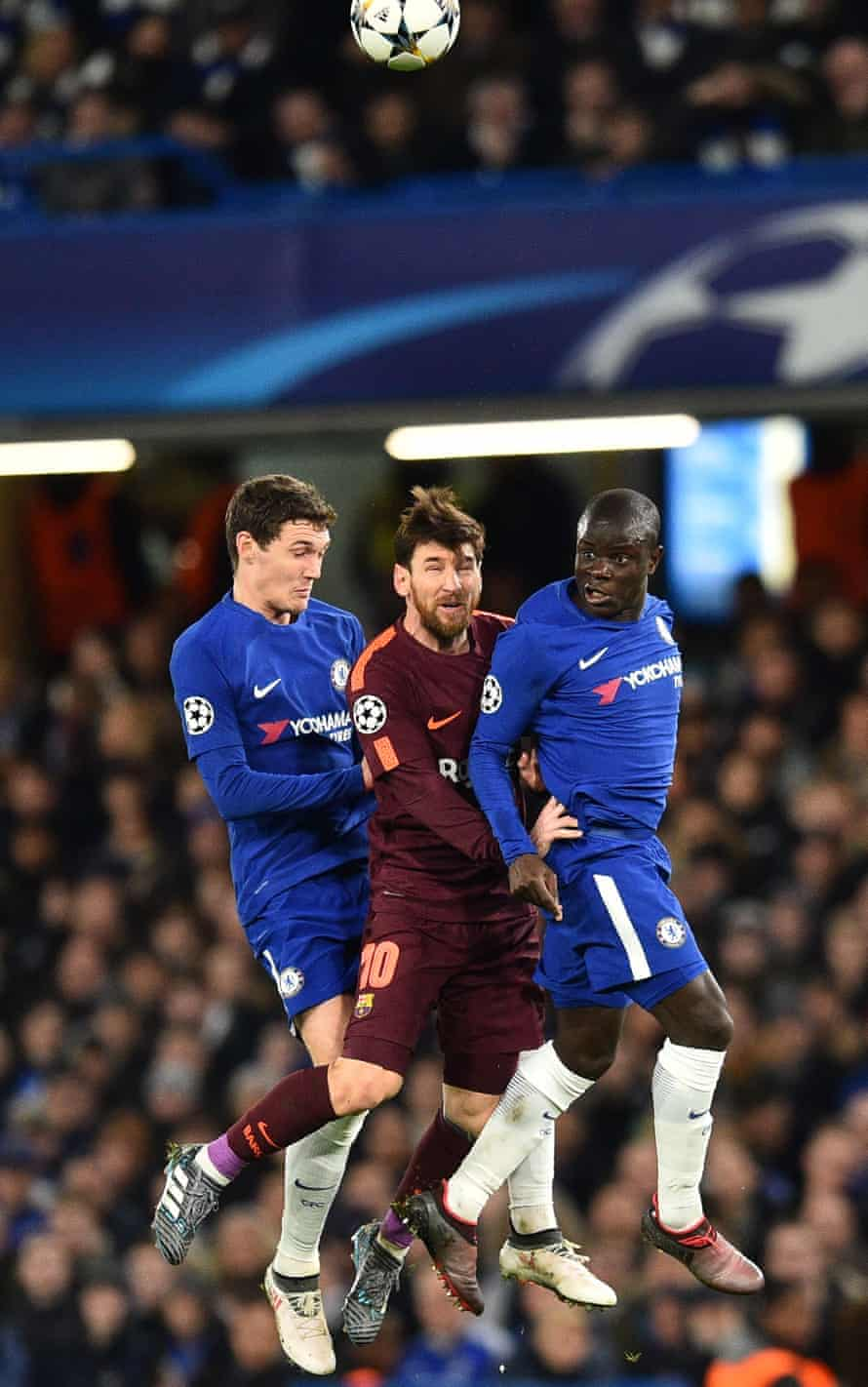 Andreas Christensen and N'Golo Kanté close down Lionel Messi