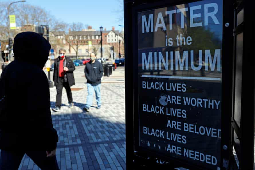 A sign in Evanston reads 'Matter is the minimum'.