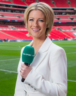 Back of the net: Jaqui Oatley plays her part for ITV.