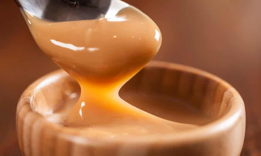 Dulce de leche,(Doce de leite) a sweet made from milk, made in Brazil and Argentina.