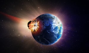 Artist's impression of a large asteroid hitting Earth.