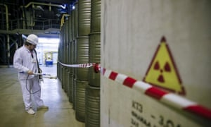 An employee measures the radiation level at a plant for processing liquid radioactive waste in Ukraine. The South Australian government sees a role for the state in taking nuclear waste from other countries, but the public remains unenthusiastic.