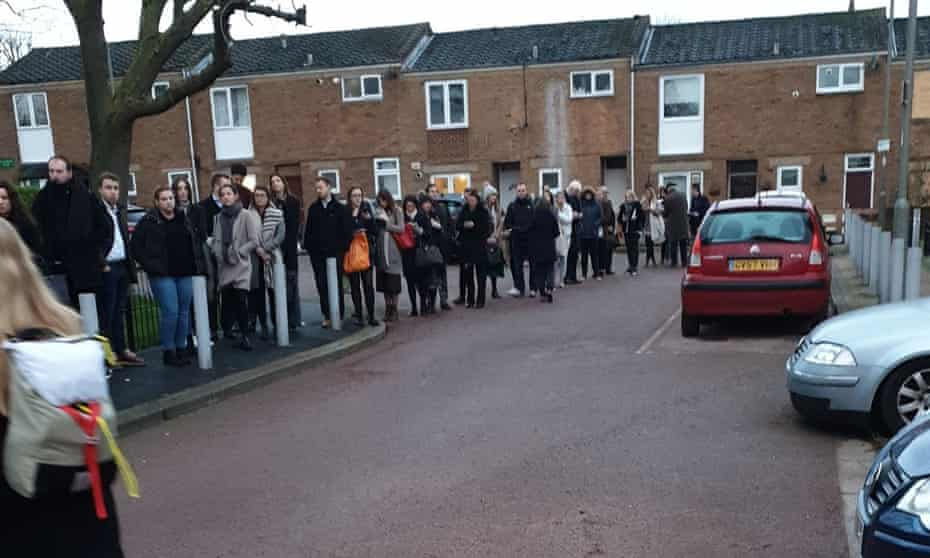 People queuing to vote in Balham, south London.