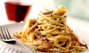 Spaghetti carbonara: a Roman speciality favoured by Apennine charcoal burners.