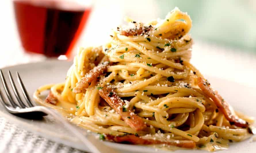 Plate of spaghetti carbonara