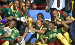 Cameroon celebrate after winning the 2017 Africa Cup of Nations in Gabon. They had hoped to host the tournament next year.