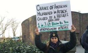 Fauzia Khanani at New York City's rally against Trump's executive order.