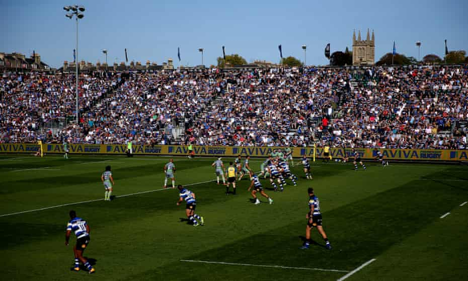 A general view of play during the Aviva Premiership match between Bath Rugby and Newcastle Falcons at Recreation Ground in September 2017.