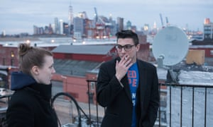 Andrew Amendola and Katie Page on the rooftop of their home.