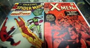 Vintage Spider-Man and X-Men Marvel comic books.