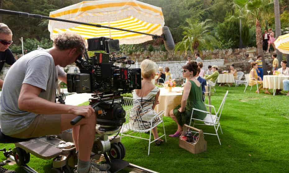 On set with Helena Bonham Carter.