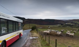 The Coquetdale circular bus route running through rural Northumberland