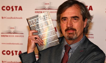 Sebastian Barry with his book Days Without End.