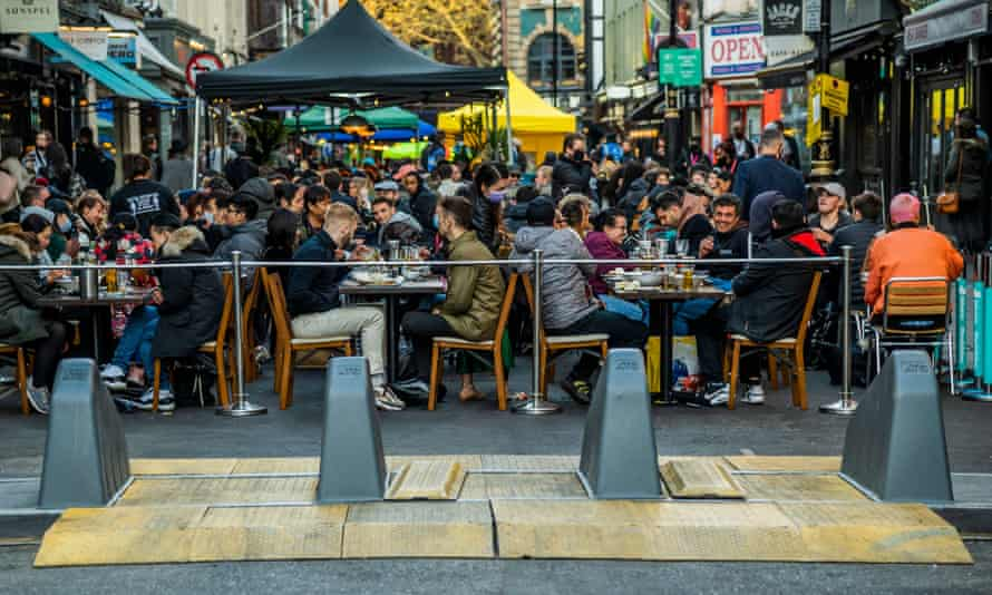 Outdoor diners in Soho, London