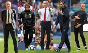 José Mourinho, Antonio Conte, Arsène Wenger, Jürgen Klopp and Pep Guardiola