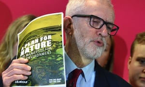 Jeremy Corbyn with Labour's environment manifesto, a Plan for Nature.