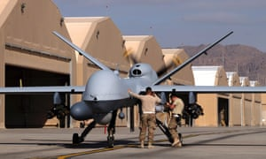 US forces preparing an MQ-9 Reaper drone in Afghanistan