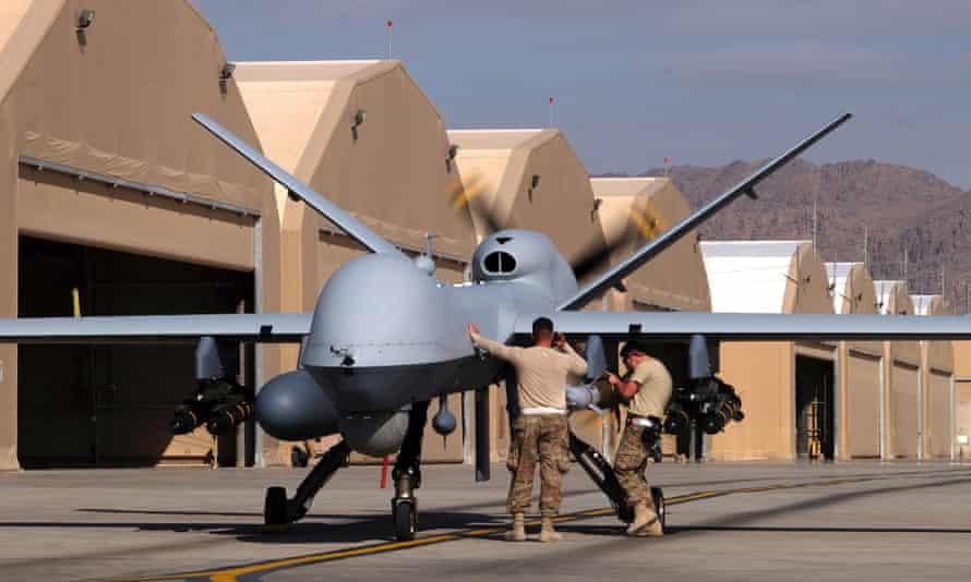 US air force staff prepare a Reaper drone in Afghanistan