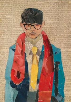 Self-portrait, 1954, collage on newsprint, by David Hockney.