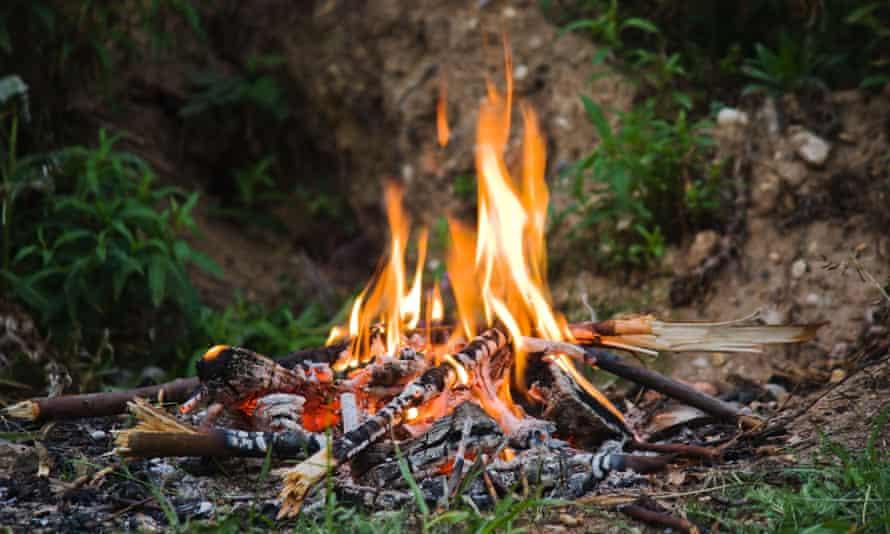 Evening camping bonfire close-up view
