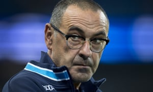 Maurizio Sarri in England in 2017, watching his Napoli side against Manchester City in the Champions League.
