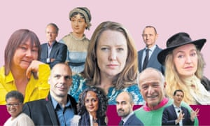 Clockwise from top left: Ali Smith, Martin Amis, Jane Austen, Paula Hawkins, Evan Davis, Rebecca Solnit, George Osborne, Richard Rogers, Hari Kunzru, Arundhati Roy, Yanis Varoufakis, Attica Locke.