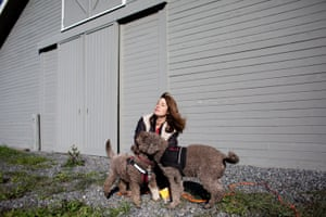 Stacy O'Toole and her truffle hunting dogs (Lagotto Ramagnolos, which is bread and trained to truffle hunt), at a Kendall-Jackson property,, Santa Rosa, California, February 18th, 2019.