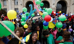 Children of Saint-Denis celebrate before the formal award of the 2024 Olympic Games to Paris