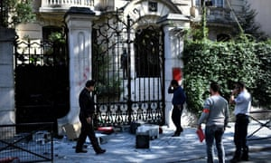 The Iranian embassy in Paris. The foreign ministry said protesters threw objects and smashed windows.