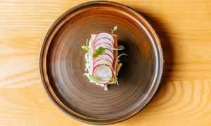 'Perches atop a perfectly made celeriac remoulade with a mustardy kick': smoked eel.
