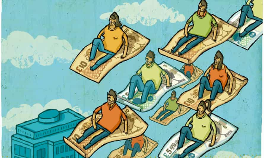 illustration of people on flying carpets made of money