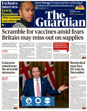 Guardian front page, Tuesday 17 November 2020