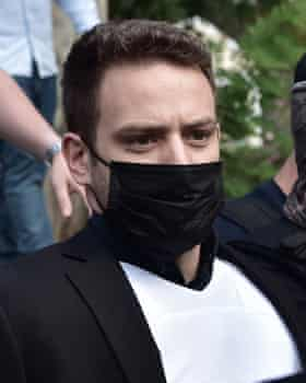 Charalambos Anagnostopoulos, wearing a mask.