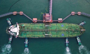 A Chinese oil tanker berths at Qingdao port in eastern Shandong province