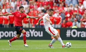 Haris Seferovic fends of Hysaj but his shot is well saved.