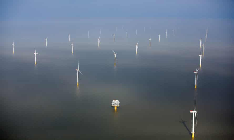 The London Array offshore wind farm. In the US, California's coast could soon become home to the largest offshore wind energy farm in the country.