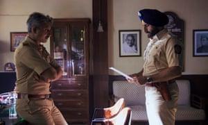 Neeraj Kabi, left, as deputy commissioner Parulkar and Saif Ali Khan as detective Sartaj Singh in the 'uncompromising' Sacred Games.