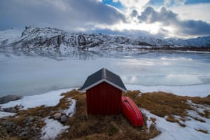 A private fishing cabin beside a fjord near Svolvaer on the Lofoten archipelago in Norway.
