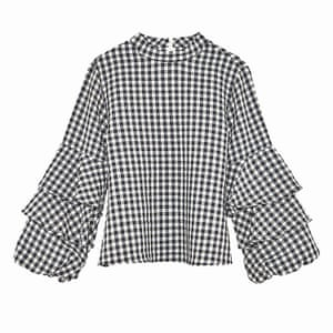 black and white checked blouse with layered ruffles on sleeves, Zara