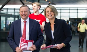 Anthony Albanese and Kristina Keneally campaigning together during the Bennelong byelection in 2017.