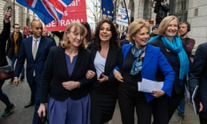 European Best Pictures Of The Day - February 20, 2019 - Conservative MPs Resign To Join The Independent Group<br>LONDON, ENGLAND - FEBRUARY 20:  Former Labour Party MP Joan Ryan (L) links arms with former Conservative MP's Heidi Allen (2L), Anna Soubry (2R) and Sarah Wollaston (R) as they arrive to a press conference to make a statement on their resignations on February 20, 2019 in London, England. Three Conservative MP's have resigned from their party to join The Independent Group following discontent with the leadership. They join seven former Labour Party MP's who left their party earlier in the week.  (Photo by Chris J Ratcliffe/Getty Images)