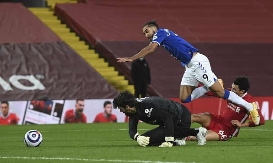 Liverpool's Trent Alexander-Arnold concedes a late penalty after tangling with Everton's Dominic Calvert-Lewin