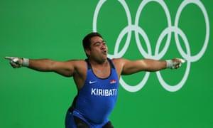David Katoatau of Kiribati dances during the Men's 105kg Group B Weightlifting event in Rio.