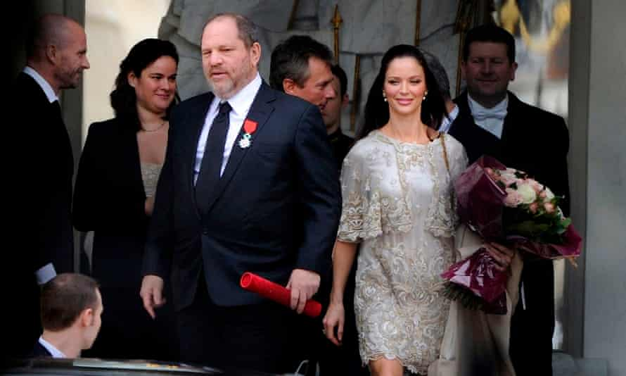 Harvey Weinstein leaves the Elysée Palace in Paris with his wife, Georgina Chapman, after he was awarded the French Legion d'Honneur, in March 2012