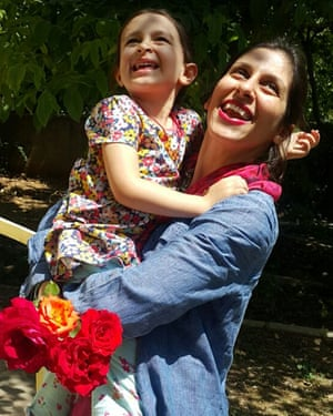 Nazanin Zaghari-Ratcliffe hugs her daughter Gabriella, after being allowed to leave an Iranian prison for three days.